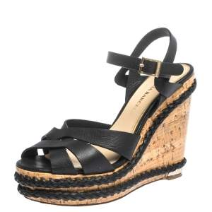Paloma Barceló Black Strappy Leather Ankle Strap Platform Cork Wedge Sandals Size 37