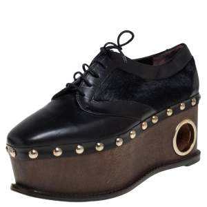 Paloma Barceló Black Leather and Pony Hair Studded Wedge Oxfords Size 38