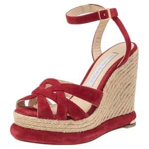Paloma Barceló Red Suede Wedge Platform Espadrille Sandals Size 38