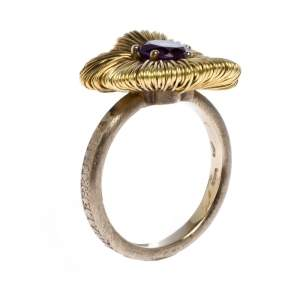 Pasquale Bruni Penelope Amethyst 18K Yellow Gold Flower Ring Size 53