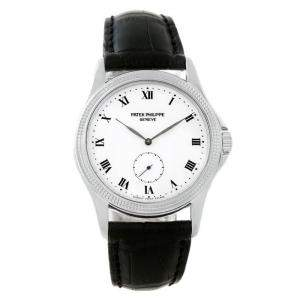 Patek Philippe White 18K White Gold Calatrava Women's Wristwatch 35MM