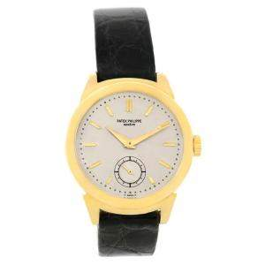Patek Philippe Silver 18K Yellow Gold Calatrava Vintage Women's Wristwatch 34MM
