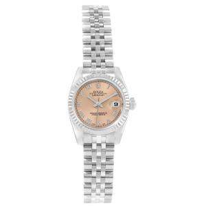 Rolex Salmon 18K White Gold and Stainless Steel Datejust 179174 Women's Wristwatch 26MM