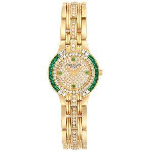 Patek Philippe Diamond Pave-set 18K Yellow Gold and Diamond Emerald 4786 Women's Wristwatch 23MM