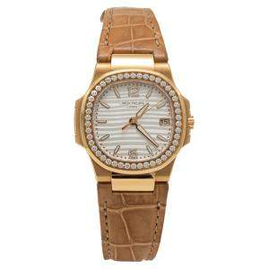 Patek Philippe Silver Dial Nautilus 7010R-011 Rose Gold Diamond Bezel Women's Watch 32MM