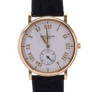 ساعة يد نسائيك باتيك فيليب كالاترافا 5022J  ذهب أصفر عيار 18 فضية 33مم