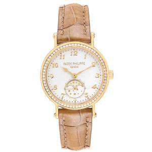 Patek Philippe Silver Diamonds 18K Yellow Gold Calatrava Moonphase 7121 Women's Wristwatch 33 MM