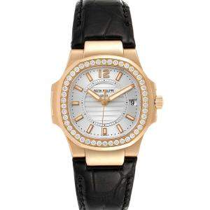 Patek Philippe Silver Diamond 18K Rose Gold Nautilus 7010 Women's Wristwatch 32 MM