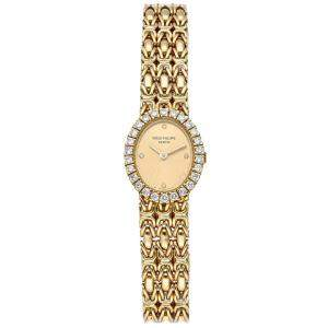 Patek Philippe Champagne Diamonds 18K Yellow Gold Vintage Oval 4752/001 Women's Wristwatch 18 MM
