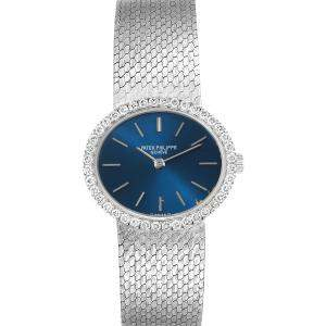 Patek Philippe Blue Diamonds 18K White Gold Classique 4175 Women's Wristwatch 24 x 21 MM