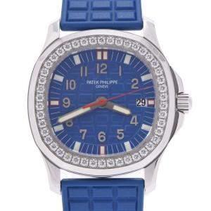 ساعة يد نسائية باتيك فيليب أكوانوت لوس 5067A-014 كوارتز ستانلس ستيل ألماس زرقاء 34مم