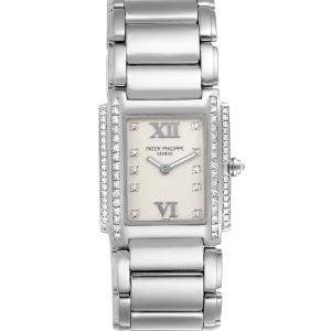 Patek Philippe Silver Diamonds 18K White Gold Twenty-4 4908 Women's Wristwatch 22 x 26 MM