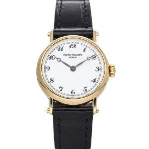 Patek Philippe White 18K Yellow Gold Calatrava Officer 4860J Women's Wristwatch 26 MM