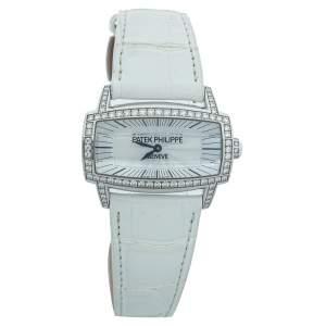 ساعة يد نسائية باتيك فيليب جوندولو جما 4981 ذهب أبيض عيار 18 فضية 37 مم