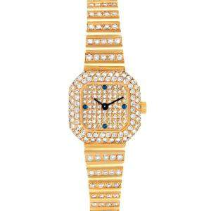 Patek Philippe Champagne Diamonds Sapphire 18K Yellow Gold 4628 Women's Wristwatch 18.5 MM