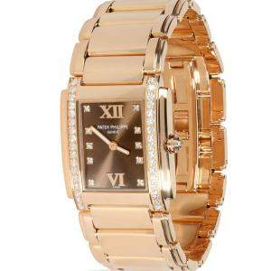 Patek Philippe Brown Diamonds 18k Rose Gold Twenty-4 4910/11R-010 Women's Wristwatch 25 MM