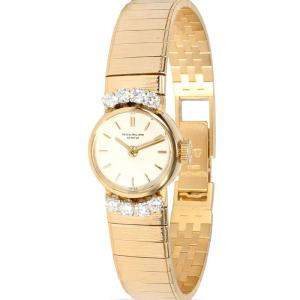 Patek Philippe Silver Diamonds 18K Yellow Gold Vintage 3266/68 Women's Wristwatch 15.5 MM