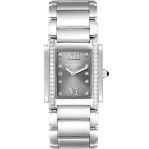 Patek Philippe Grey Diamonds Stainless Steel Twenty-4 4910 Women's Wristwatch 25 x 30 MM