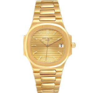 Patek Philippe Champagne 18K Yellow Gold Nautilus 3900 Women's Wristwatch 32 MM