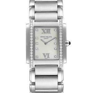 Patek Philippe Silver Stainless Steel Diamond Twenty-4 Quartz 4910 Women's Wristwatch 25 x 30 MM