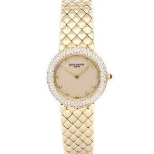 Patek Philippe Silver Diamonds 18K Yellow Gold Calatrava 4823/1J Women's Wristwatch 27 MM