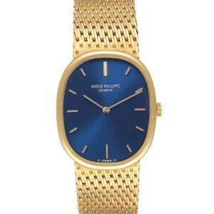 Patek Philippe Blue 18k Yellow Gold Golden Ellipse 3548 Women's Wristwatch 27 x 32 MM