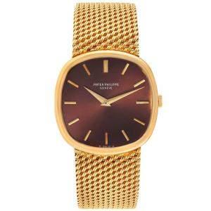 Patek Philippe Brown 18k Yellow Gold Ellipse 3844 Women's Wristwatch 33 MM