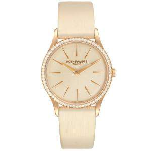 Patek Philippe Beige Diamonds 18K Rose Gold Calatrava 4897R Women's Wristwatch 33 MM
