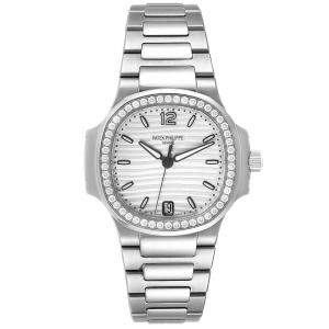Patek Philippe Silver Diamonds Stainless Steel Nautilus 7118 Women's Wristwatch 35 MM