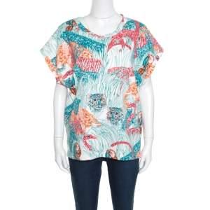 Paul & Joe Multicolor Jungle Printed Cotton Dolman Sleeve Top XL