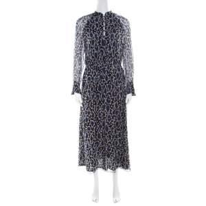 Paul and Joe Navy Blue Printed Silk Cutout Back Detail Zanzibar Dress S
