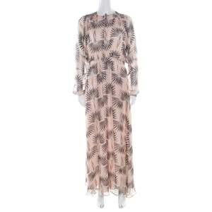 Paul and Joe Pink Printed Silk Chiffon Neck Tie Detail Valentine Maxi Dress M