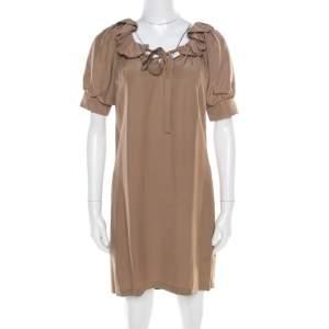 Paul & Joe Brown Silk Neck Tie Ruffled Neck Cerlina Dress S