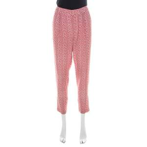 Paul and Joe Red Strawberry Print Cotton Blend Relaxed Tapered Pants M