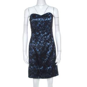 Paul & Joe Black and Blue Floral Lace and Satin Strapless Cocktail Dress L
