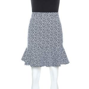 Paul and Joe Navy and White Floral Knit Cotton Blend Ruffle Hem Skirt M