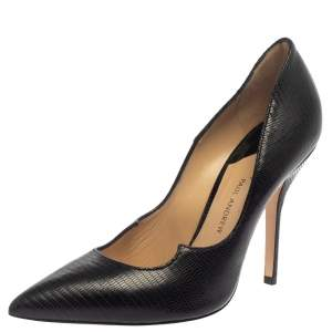 Paul Andrew Black Lizard Embossed  Leather Pumps Size 39