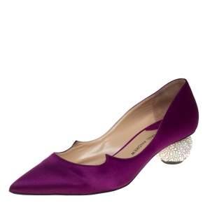 حذاء كعب عالى بول أندرو أنكرا مزخرف كريستال كعب سميك ساتان بنفسجي مقاس 37