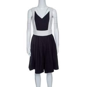 Paule Ka Monochrome Colorblock Cotton Knit Sleeveless Dress M