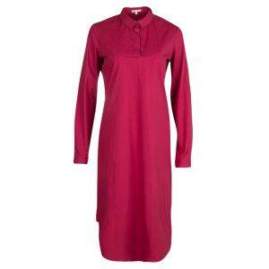 Paule Ka Red Cotton Long Sleeve Shirt Dress M