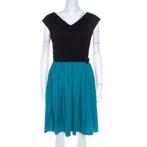Paule Ka Bicolor Cotton Lace Bodice Ruched Waist Sleeveless Dress M