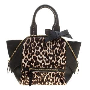 Paule Ka Black/Beige Leather and Leopard Print Calfhair Tote