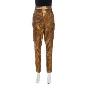 Peter Pilotto Metallic Floral Stretch Jacquard Slim Fit Trousers M