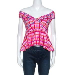 Peter Pilotto Pink Printed Cotton Poplin Off Shoulder Top L