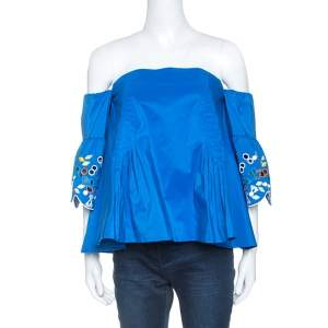 Peter Pilotto Blue Taffeta Embroidery Detail Belted Off Shoulder Top M