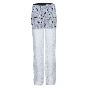 Peter Pilotto White Tabitha Cutout Ikebena Flower Embroidered Silk Organza Pants M