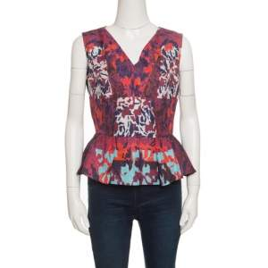 Peter Pilotto Multicolor Textured Water Orchid Print Cloque Peplum Top M