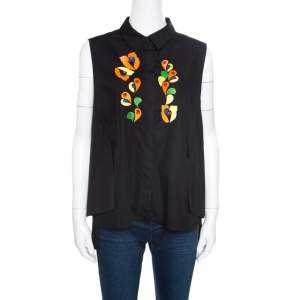 Peter Pilotto Black Embroidered Embellished Cotton Sleeveless Blouse L