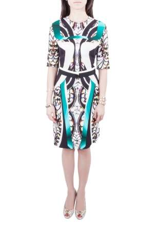 Peter Pilotto Multicolor Digital Print Belted Sheath Dress M
