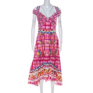 Peter Pilotto Pink Printed Cotton Poplin Cold Shoulder Ruffled Hem Dress S